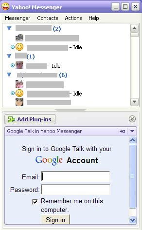 Google Talk in Yahoo Messenger